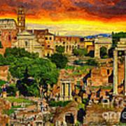 Sunset In Rome Art Print