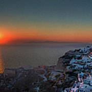 Sunset In Santorini, Greece Art Print
