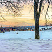 Sunset In The Snow Art Print