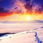 Sunset In The Winter Art Print by Boon Mee