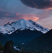 Sunset Mount Rainier Art Print