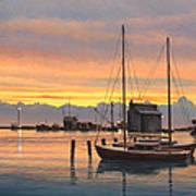 Sunset-north Dock At Pelee Island   Art Print