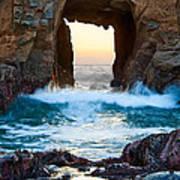Sunset On Arch Rock In Pfeiffer Beach Big Sur. Art Print