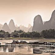 Sunset On Li River Art Print
