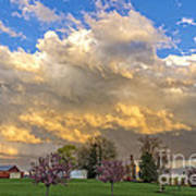 Sunset On Mixed Clouds Art Print