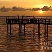 Sunset On The Dock Art Print