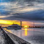 Sunset On The Docks Art Print