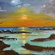 Sunset On The North Sea Art Print