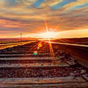Sunset On The Rails Art Print