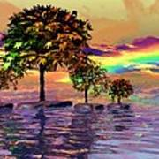 Sunset On Trees And Ocean Art Print
