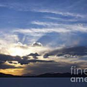 Sunset On Uyuni Salt Flats Art Print