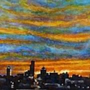Sunset Over Dayton Ohio Skyline Art Print
