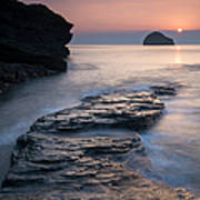 Sunset Over Gull Rock From Trebarwith Art Print