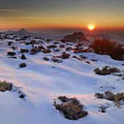 sunset over National park Sierra Nevada Art Print