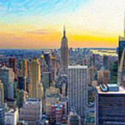 Sunset Over New York City Art Print by Mark E Tisdale