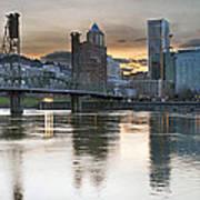 Sunset Over Portland City Skyline Panorama Art Print