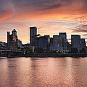 Sunset Over Portland Oregon Waterfront Panorama Art Print