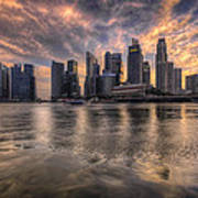 Sunset Over Singapore Skyline Art Print