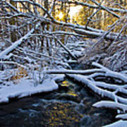 Sunset Over Snowy Mammoth Creek Art Print