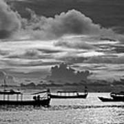 Sunset Over The Gulf Of Thailand Black And White Art Print