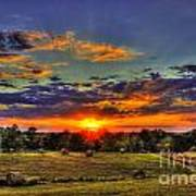 Sunset Over The Hay Field Art Print