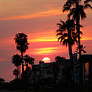 Sunset Over The Homes Of Newport Beach Art Print