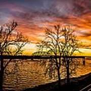 Sunset Over The Mississippi River Art Print