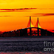 Sunset Over The Skyway Bridge Crop Art Print