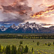 Sunset Over The Tetons  Art Print