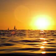 Sunset Over The Water In Waikiki Art Print