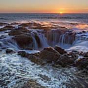 Sunset Over Thor's Well Along Oregon Coast Art Print