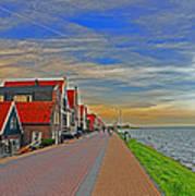 Sunset Over Volendam Art Print