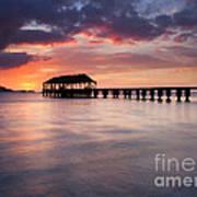 Sunset Pier Art Print by Mike  Dawson