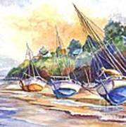 Sunset Sail On Brittany Beach  Art Print