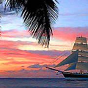 Sunset Sailboat Filtered Art Print