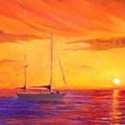 Sunset Ship Art Print by Rich Kuhn