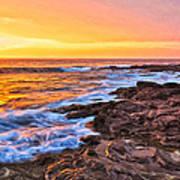 Sunset Shore Break Art Print