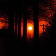 Sunset Silhouette Painterly Art Print