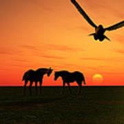 Sunset Silhouettes Four Art Print