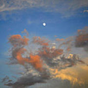 Sunset Sky With Gibbous Moon And Clouds Usa Art Print