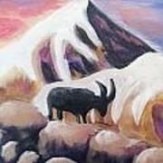 Sunset Swiss Goat Art Print
