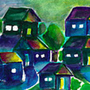 Sunset Village Watercolor Art Print