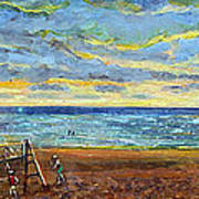 Sunset Volleyball At Old Silver Beach Art Print