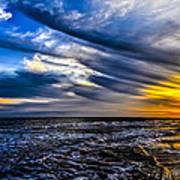 Sunset With Blue Sky Art Print