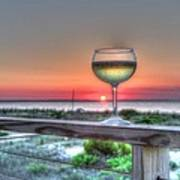 Sunset With Wine Glass Art Print