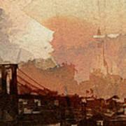 Sunsrise Over Brooklyn Bridge Art Print