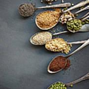 Super Food Grains On Spoons Art Print