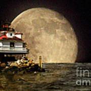 Super Moon Lighthouse Art Print