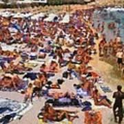 Super Paradise Beach In Mykonos Island Art Print