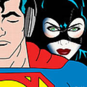 Superman And Catwoman  Art Print